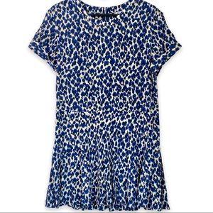 Sea NY Silk Tunic Dress in Blue Leopard Print